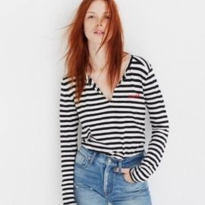 Madewell Long Sleeve Striped Split Neck Mwah Tee